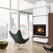 poêle cheminée design Modulo 140 position adossée  habillage effet rouille vue d'ambiance