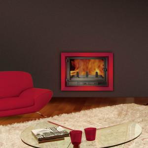 Habillage prisme insert de cheminée bois et granulés Wodtke T6 habillage d'ambiance prisme rouge