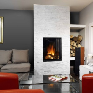 ulys 800V cheminée contemporaine Wodtke Ulys® 800V avec chenets vue d'ambiance