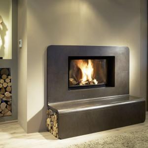 cheminée à bois Wodtke Ulys 900 Level habillage LEVEL vue d'ambiance